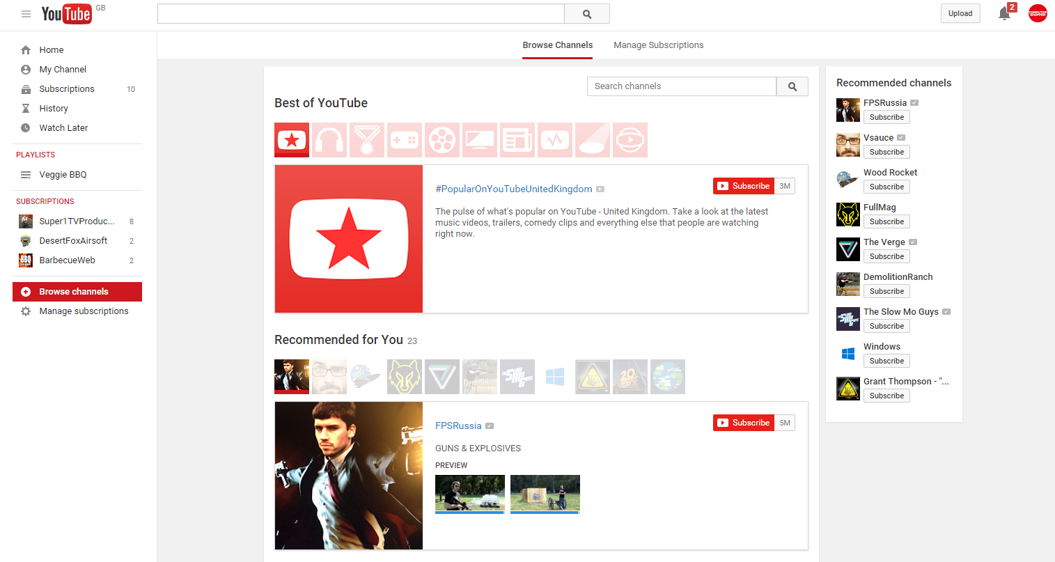 youtube how to find new channels