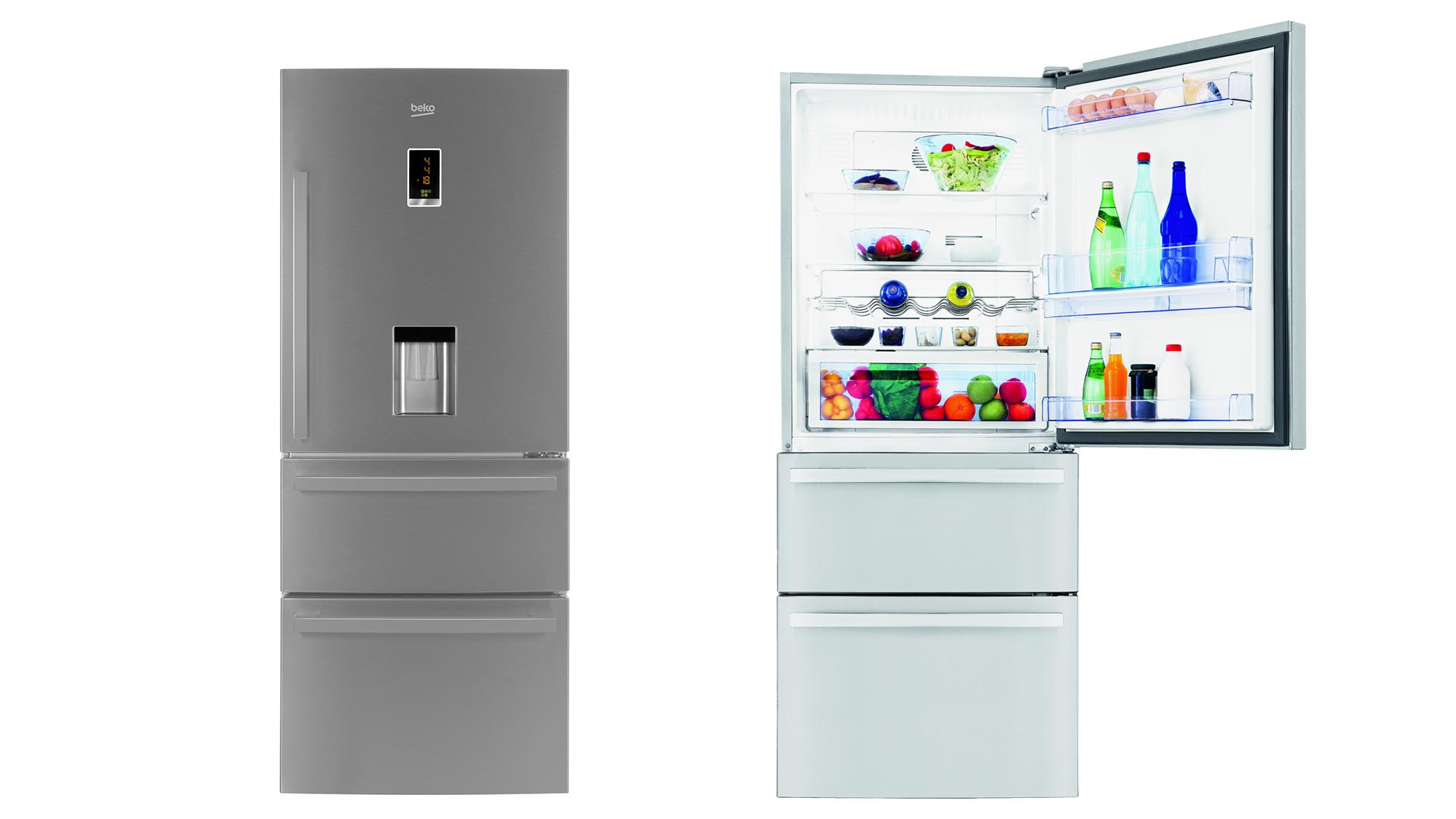 company produces a range of products that represent great value for money this large 74cm wide threedoor fridge freezer