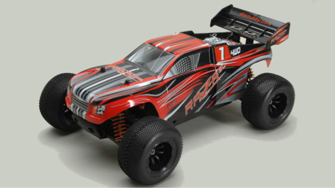the 110th scale 4wd raz r is a great budget priced intro to rc car frolics this particular model is of the truck variety so the ride height is higher than