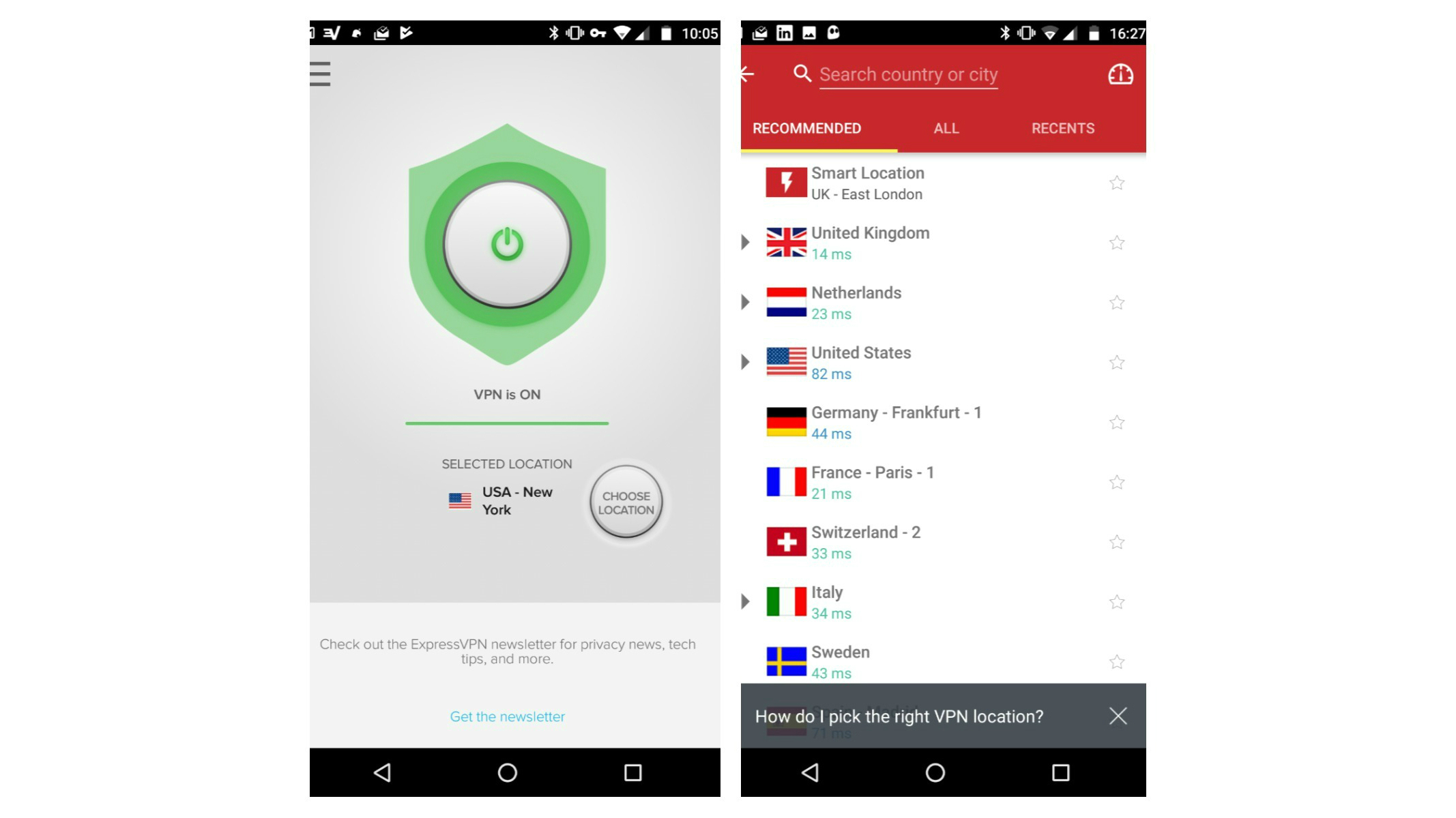 Nordvpn android server