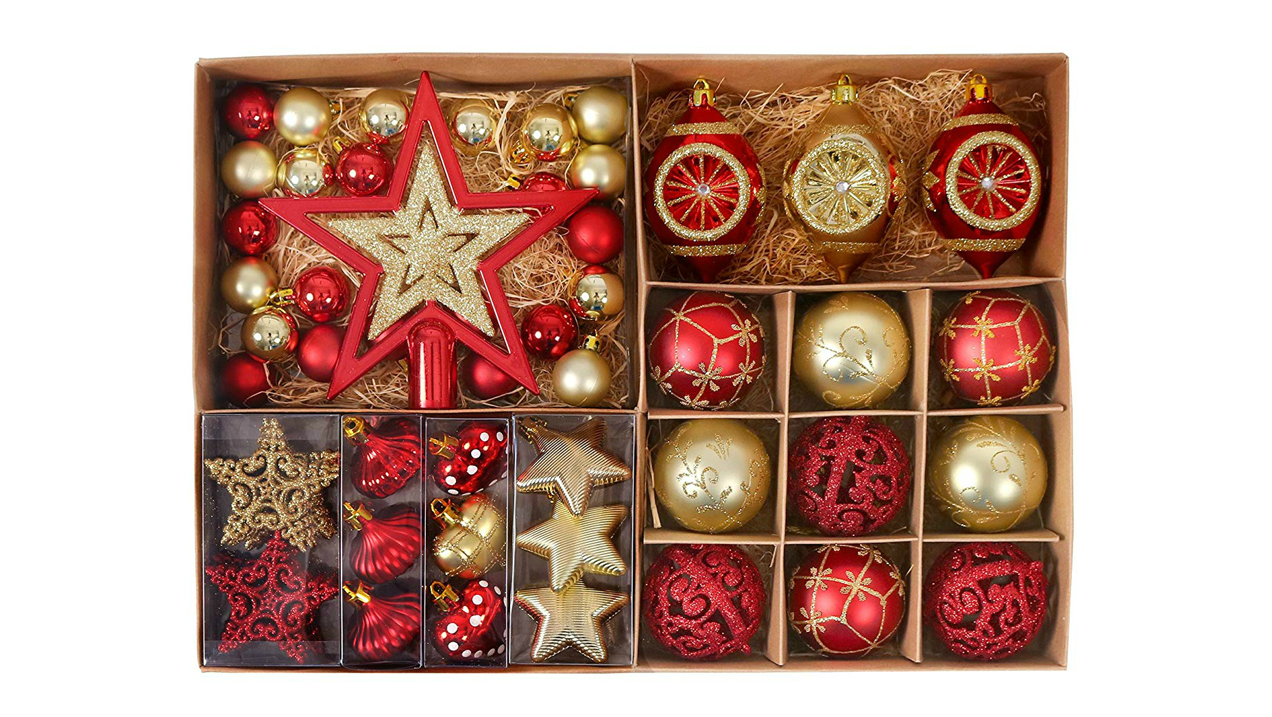 everything you need for your tree is right here is this jam packed box of goodies theres even the star for the top all in a red and gold theme - Best Christmas Decorations Uk
