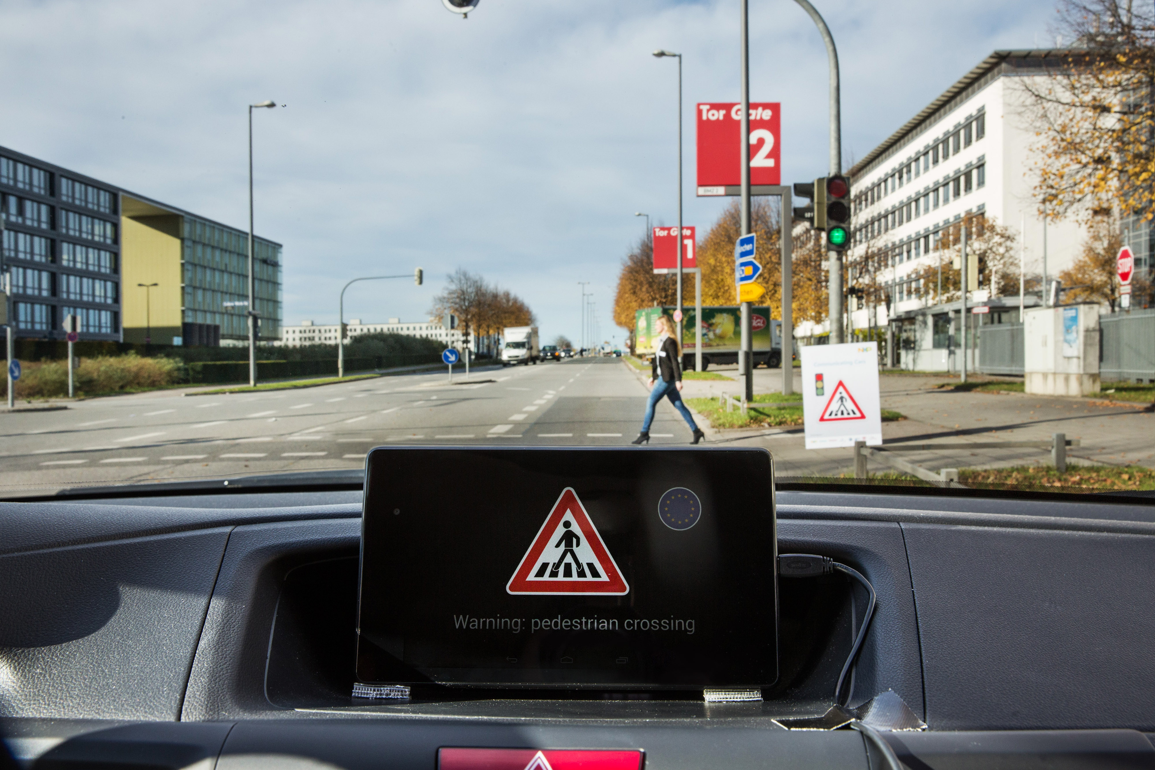 NXP Car To X Technology Test Drive Pedestrian Crossing