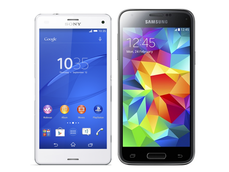 samsung galaxy s5 white vs black. sony xperia z3 compact vs samsung galaxy s5 mini side by white black h