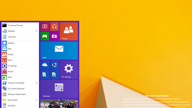 Windows build 9788 start menu