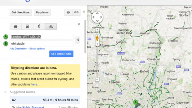 Cycle directions on Google Maps