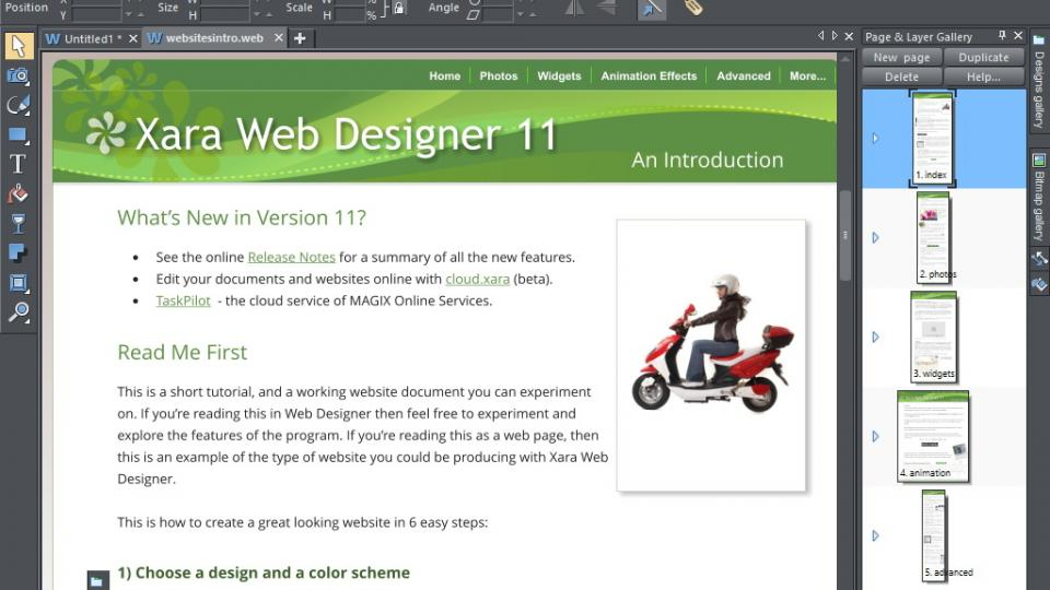 The excellent interactive introduction document, Web Designer 11 Premium