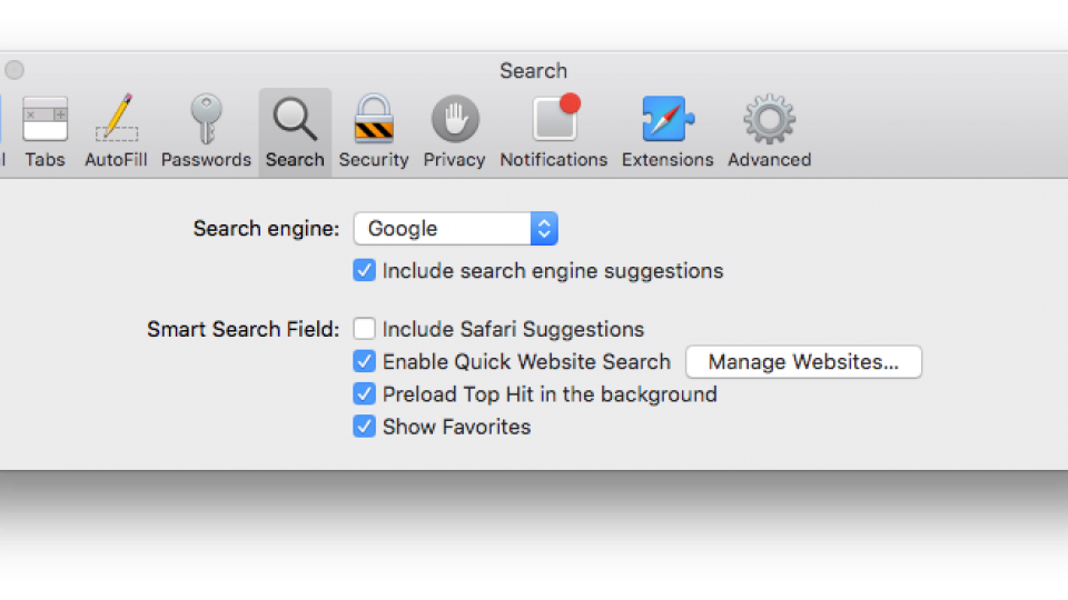 how to get search bar back on safari mac