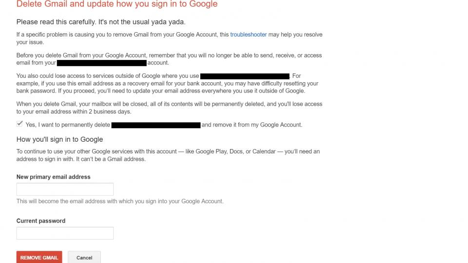 how to delete gmail account permanently with password