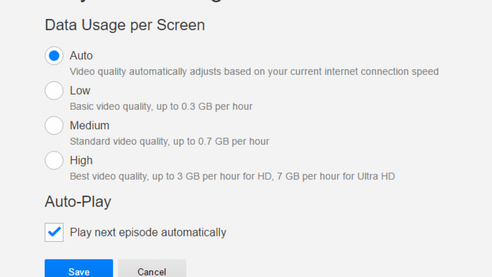 how to change quality settings on net flix