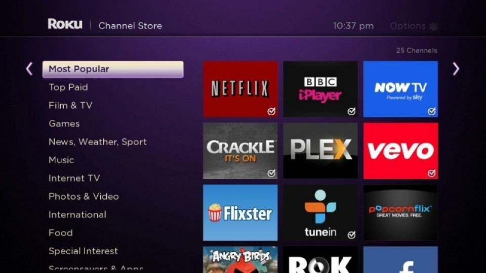 Roku 3 Add Channels Screen