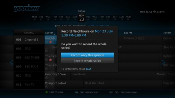 YouView EPG recording