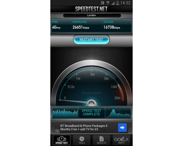 Samsung Galaxy S3 LTE Speed Test