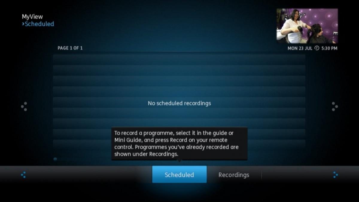 YouView scheduled recordings