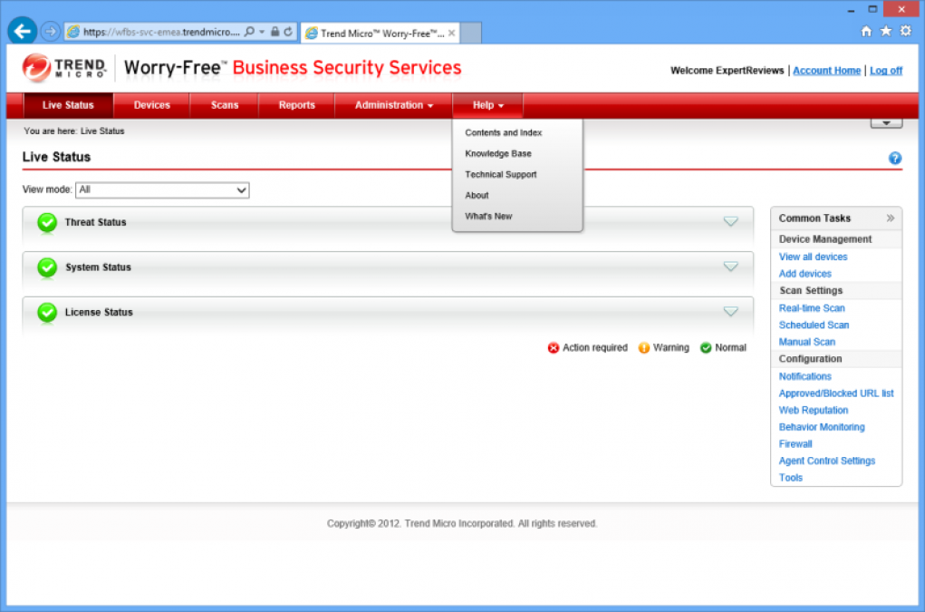 Trend Worry Free Business Security web control console