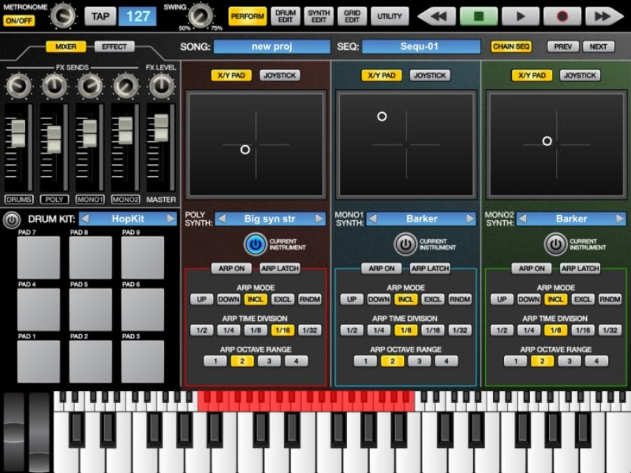Akai SynthStation Performance Screen