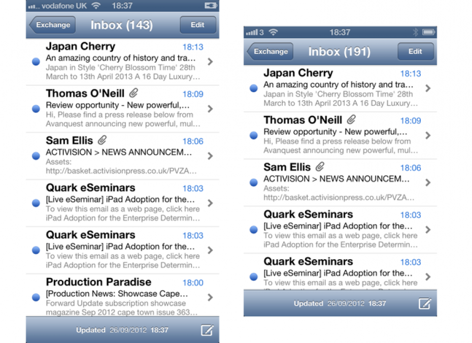 Apple iPhone 5 email comparison