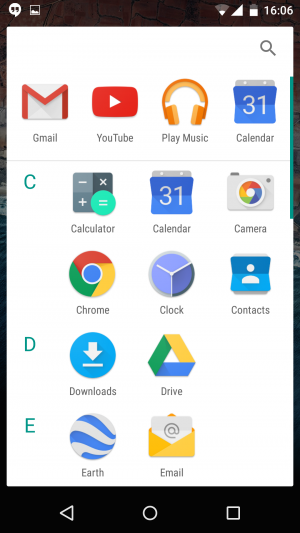 Android M - app tray