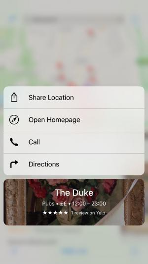 iPone 6S 3D Touch Maps Quick Action