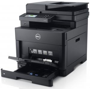 Front right view, Dell H825cdw, paper trays extended