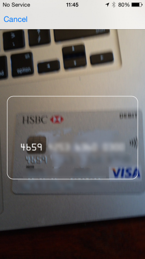 iOS 8 auto fill credit card details using camera