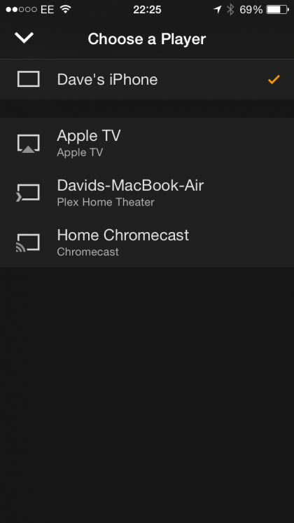 Plex for iOS select Chromecast or Apple TV