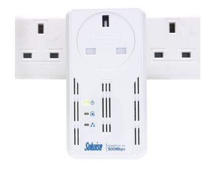 Solwise NET-PL-500AV-PIGGY plugged in