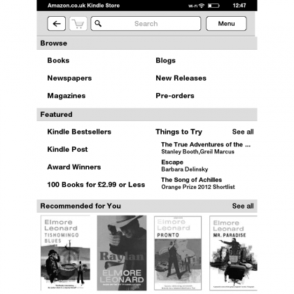 Amazon Kindle Touch screen grabs