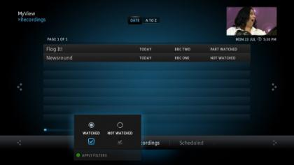 YouView Recordings filters