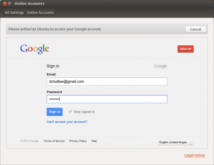 Ubuntu 12.10 online accounts