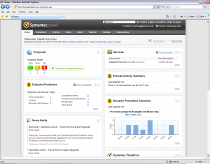 Symantec web control interface