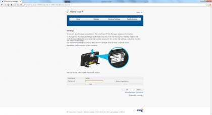 BT Home Hub 4 Screenshot Web Interface Two