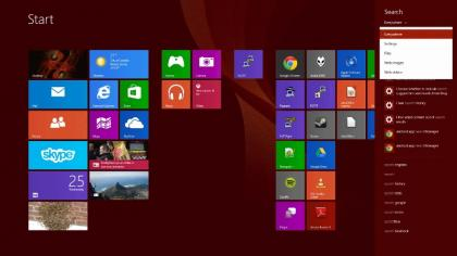 Windows 8.1 Start screen search