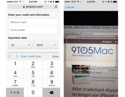 iOS 8 credit cards