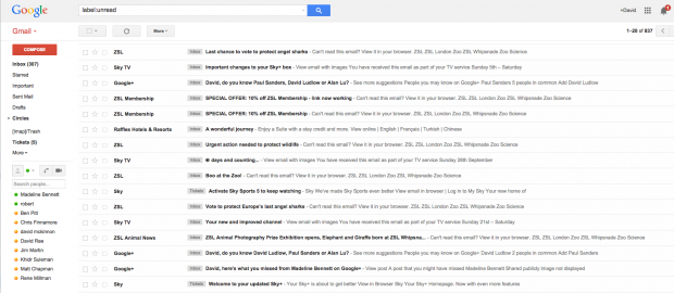 how to find unread emails in gmail
