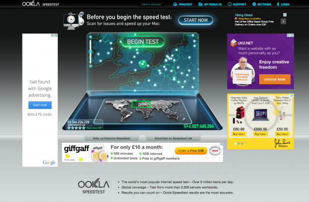 SpeedTest online broadband speed checker