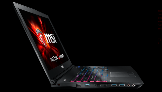 MSI GE62 2QE Apache side