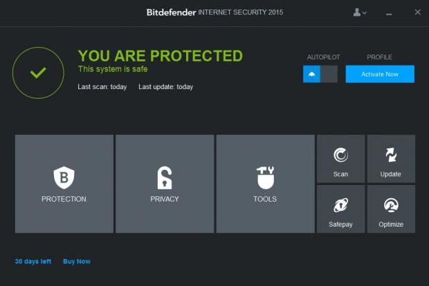 The main menu of BitDefender