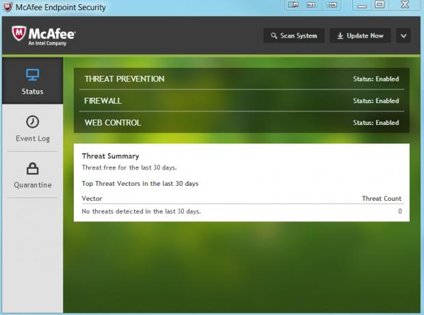 McAfee SaaS's endpoint interface is very simple unless you're an admin