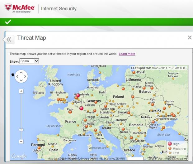 McAfee's Threat Map is an interesting but not particularly useful addition