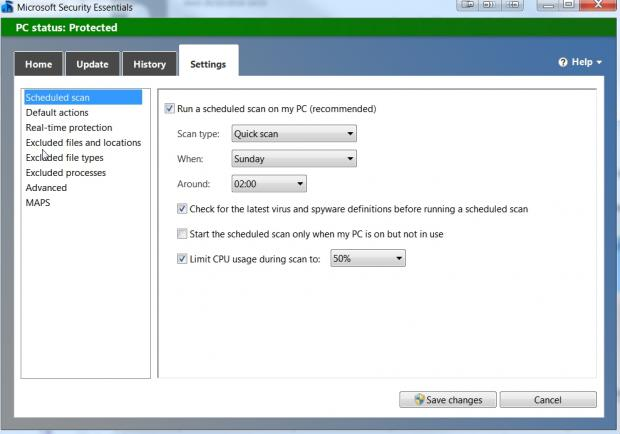 You can schedule when and how scans take place within Security Essentials