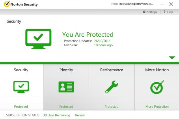 Norton lets you know your PC is protected by splashing green icons all over the welcome screen