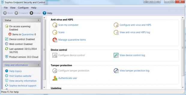 The Sophos Endpoint clientside software looks a little dated when compared to the Cloud admin interface