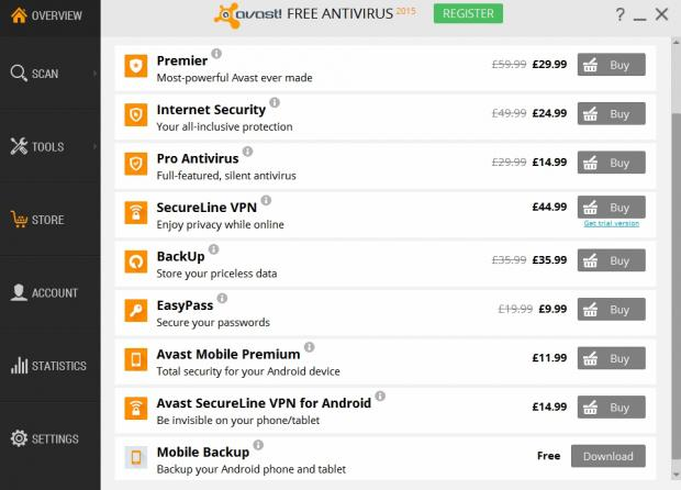 The Avast Store is full of paid-for features, but the software never pressures you into paying for anything
