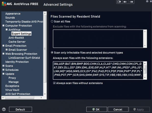 AVG's Advanced Settings menu lets you ignore certain filetypes in scans among many other things