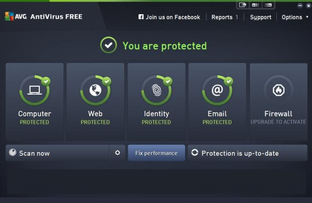 AVG's main menu shows you your security status at a glance