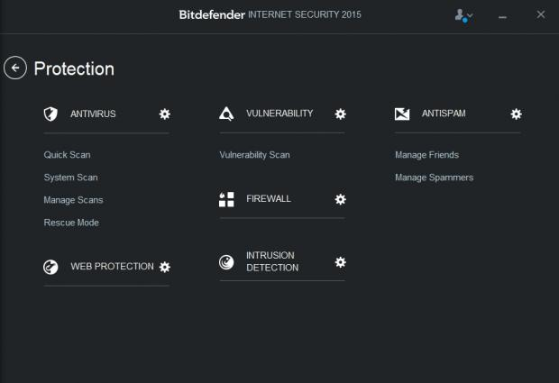 BitDefender's protection menu shows all of your security options in one place