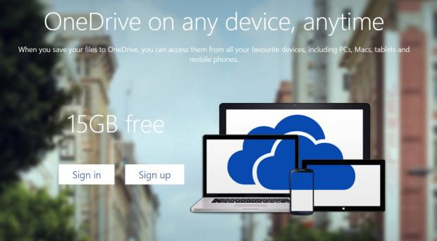 The signup page for OneDrive