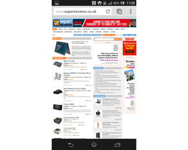 Sony Xperia Z browser