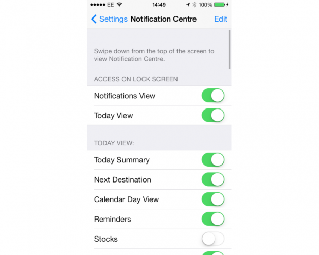 Apple iOS 7 Notification settings