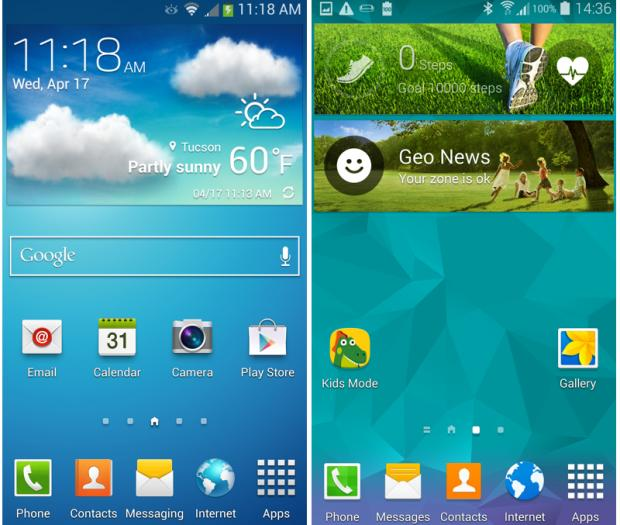 Samsung Galaxy S5 vs Galaxy S4 home screens